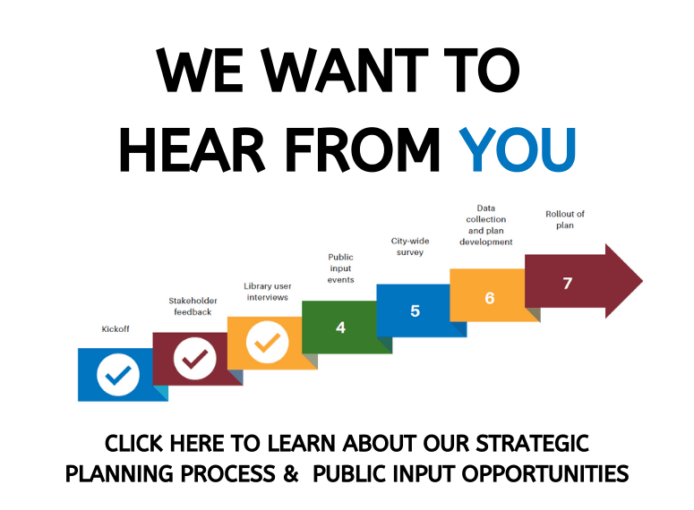 "Button reads ""Click here to learn about our strategic planning process & public input opportuniti"